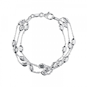 China WOMEN Essentials Sterling Silver Beaded Chain 3 Row Bracelet on sale