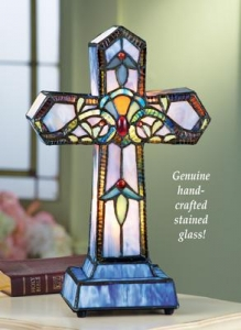 China Lighted Stained Glass Cross Lamp on sale