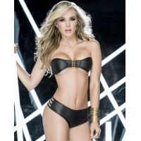 Wet Look Luxurious Lover Sexy Top & Thong Panty Set