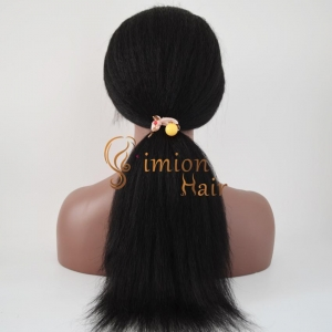 China Top Quality Virgin Brazilian Human Hair Lace Wigs Kinky Straight Ponytail Lace Wigs on sale