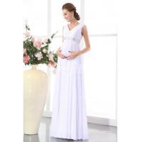 V Neck Sheath Beading Chiffon Maternity Wedding Dress