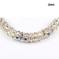 China 6mm Rondelle spacer, waviness, crystal AB Rhinestone, hole 1mm, 50 piece on sale