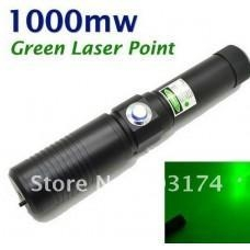 China 1000MW Green Laser Pointer Torch with Protective Glasses (Black) on sale