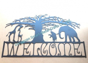China African style Metal Welcome sign Laser cut metal wall sign on sale