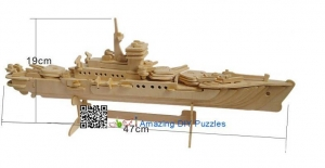 China DIY toy-3D puzzle-Wooden Cruiser warship on sale