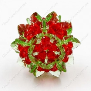 China 3D beaded flower ball, green and red, width45mm, 1 pc on sale