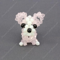 China Crystal 3D beading Papillon puppy dog Charm Kit, 35x30mm, pink jade on sale