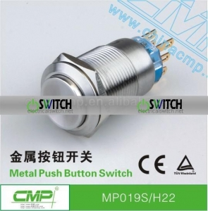 China CMP 19mm vandal resistant push button ,waterproof latching push button switches (stainless steel) on sale