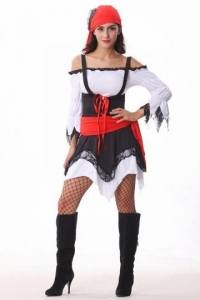 China Sexy Ladies Black Halloween Pirate Costume on sale