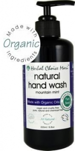 China Herbal Choice Mari Liquid Hand Wash m/w Organic Mountain Mint 200ml/ 6.8oz Glass Bottle w/ Pump on sale