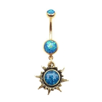 Toposh Jewelry Hot Sell Burnished Gold Sun Opal Navel Ring Belly Button Rings Manufacturer Supplier