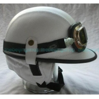 China Retro Cap PU Leather Motorcycle Helmet w/ Goggle White on sale