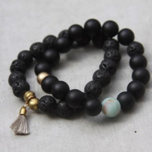 China Black Beaded Lava Bead Bracelet Set on sale