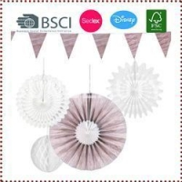 China Wood Grain Hanging Paper Fan Decoration Set on sale