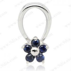 China The best price 925 sterling silver pendent design with natural 1.5mm round Sapphire gemstone on sale