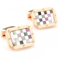 Classi black-white grid shell plating brass cufflinks
