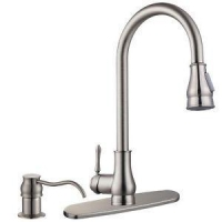 """New 18"""" Kitchen Sink Faucet Brushed Nickel Pull-Out Spray Swivel Spout Dispenser"""