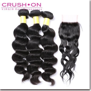 China Indian Virgin Hair Loose Wave Bundles With Lace Closure on sale