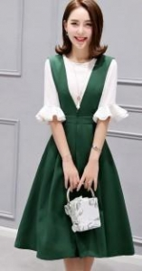 China Sweet Half Sleeve 2pcs Skirt Suit Women's Summer Dress on sale