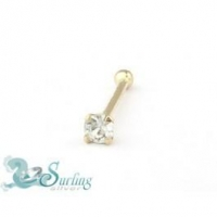 Solid 14K Gold Genuine Diamond I Nose Bone Ring 20 gauge