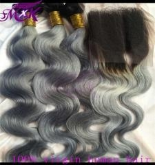 China Peruvian hair body wave with grey color 1b at roots on sale