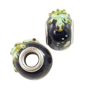 China Large Hole Lampwork Glass Bead 10x15mm Black with Green Turtle and Tan Dots (1-Pc) LG418 on sale