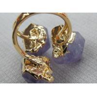 Amethyst Raw Stone 3 Stone Ring