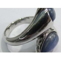 China Kyanite Pear Cab 2 Stone Silver Ring on sale