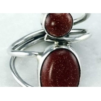 China Gold Sandstone 2 Stone Silver Ring on sale