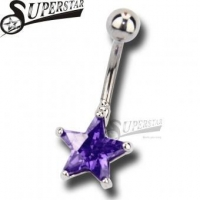 Purple Star Stone Belly Button Ring
