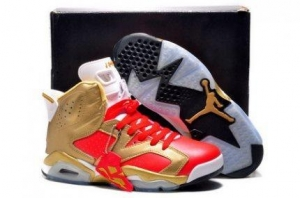 China Air Jordan 6 (VI) Retro Gold Red Black Mens Simple Shoes on sale