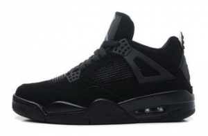 China Air Jordan 4 Retro Black Cat Black Black Light Graphite Womens Online Sneaker Store on sale