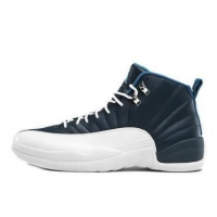 Air Jordan 12 Retro Obsidian White French Blue University Blue Mens Office Shoes Sale