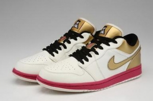 China Air Jordan 1 Basketball Shoes Low Gold White Black Mens Shoes Outlet on sale