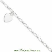 China Sterling Silver Baby Bracelet w/Dangling Flat Heart on sale