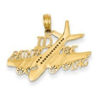 China 14k gold I'd rather be flying pendants polished airplane with ID RATHER BE ING on sale