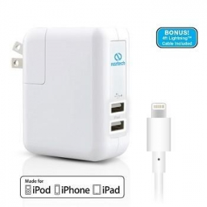 China 12414-MFINaztech 4.8A Apple Certified Dual USB AC Wall Charger with 8-Pin Lightning Cable on sale