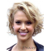 Best Lace Front Short Wavy Blonde Top Quality High Heated Fiber Hair Wig