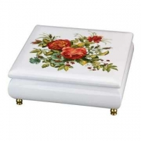 Wooden Jewelry Music Box with Floral Pattern