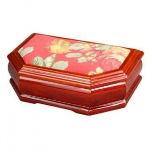 China Tapestry Decorated Wooden Jewelry Gift Box on sale