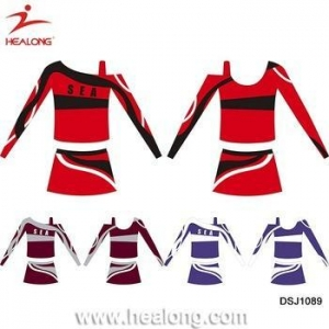 China Women Long Sleeve Full Sublimation Cheerleading Uniforms Dresses Skirts on sale