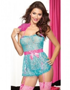 China Turquoise Babydoll And Panty SetW386596 on sale