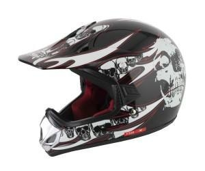 China V Can V310 Skull Kids MX Helmet Black/White on sale