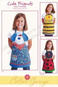 China ON SPECIAL...Cute Friends Aprons (children's) apron sewing pattern from Cotton Ginnys on sale