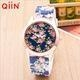 China QE0122 Geneva style alloy metal silver plating high quality lover watch on sale