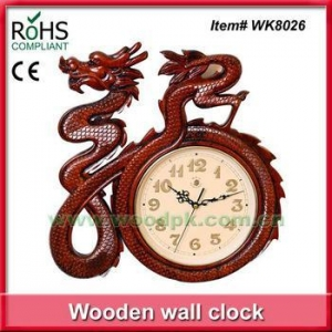 China 42x40.5cm Exquisite handmade wood decoration chinese style dragon clock on sale