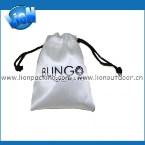 China Small white satin drawstring jewelry pouch on sale