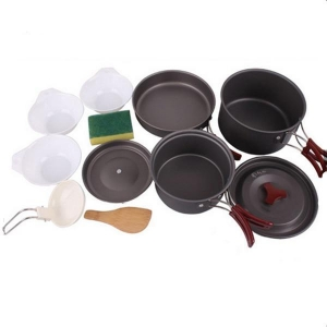 China Lightweight Outdoor Camping Hiking Cookware Backpacking Cooking Picnic Bowl Pot Pan Set on sale
