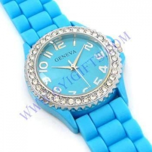 China Geneva Crystal Jelly Gel Silicone Girls Watch on sale