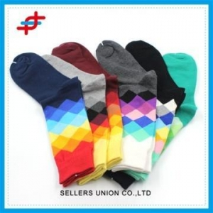 China Geometric Rainbows Argyle Crew socks For Young on sale
